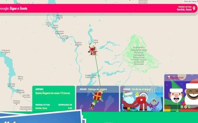 Sigue la ruta de Santa Claus con Google - Ruta de Santa Claus. Captura de pantalla