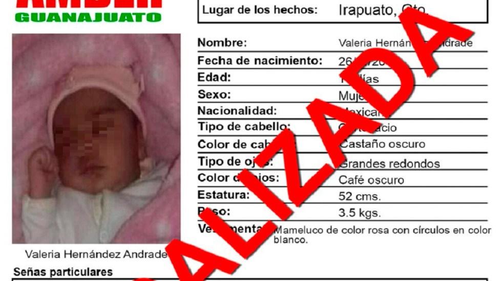 Detienen a cuatro por robo de bebé en Irapuato - Desactivación de Alerta Amber de bebé raptada en Irapuato. Foto de @AAMBER_gto