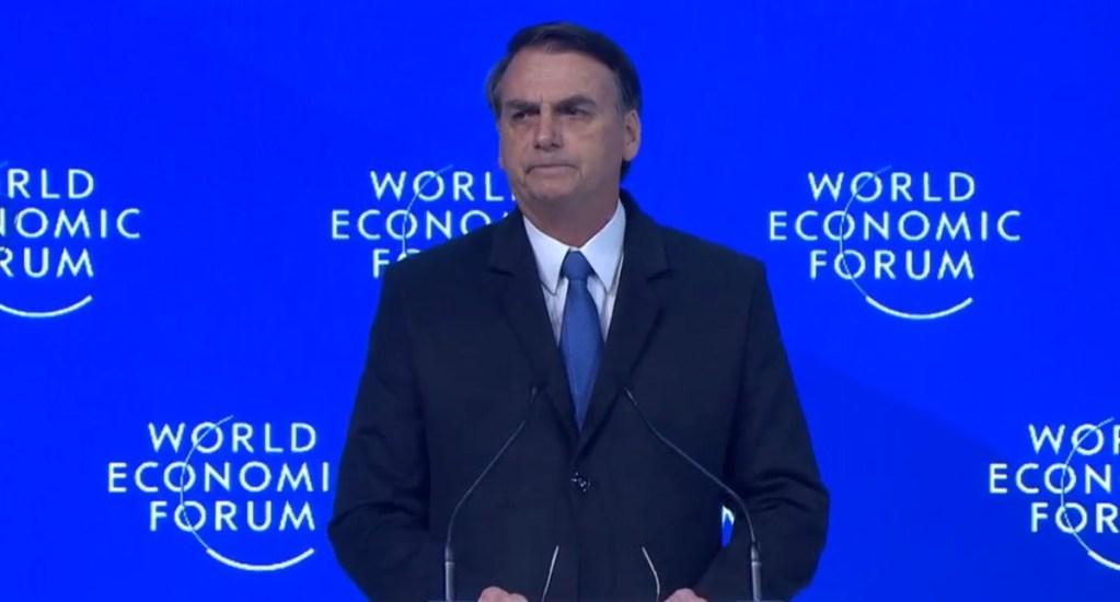 """Bolsonaro augura que la izquierda en América Latina """"no prevalecerá"""" - Bolsonaro en Foro Económico Mundial de Davos. Captura de pantalla"""