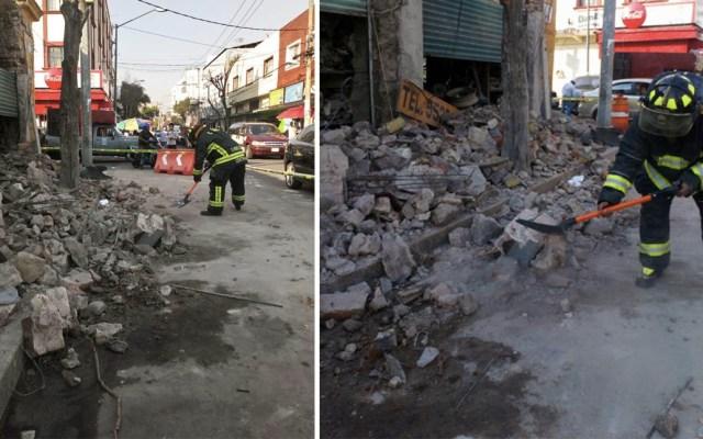 Se derrumba fachada en la colonia Morelos - Foto de @BomberoIsmael