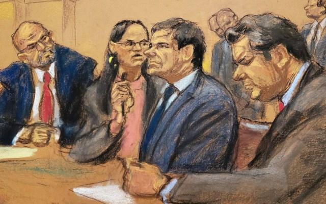 Posponen sentencia de 'El Chapo' para el 17 de julio - Ilustración de 'el Chapo' durante su juicio. Foto de EFE