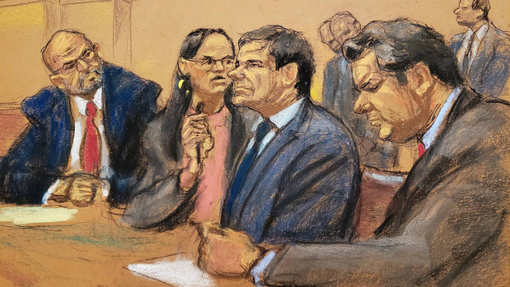 Ilustración de 'el Chapo' durante su juicio. Foto de EFE