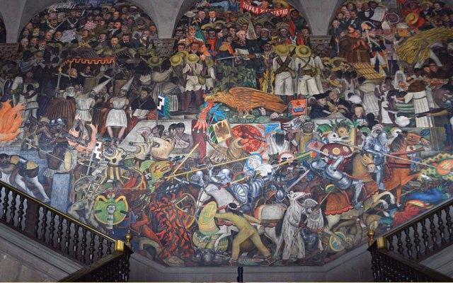 López Obrador presume mural de Rivera a presidente del gobierno español - Foto de Notimex