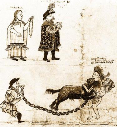 Malinalli antes de ser Malintzin - Cortés y Malinche después de la Conquista. Escena acaecida en Coyoacán en 1523 Códice de Aperramiento.