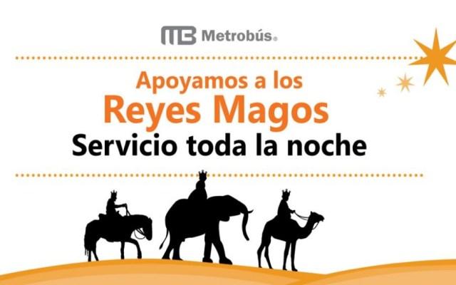 Metrobús dará servicio toda la noche por Reyes Magos - Foto de @MetrobusCDMX