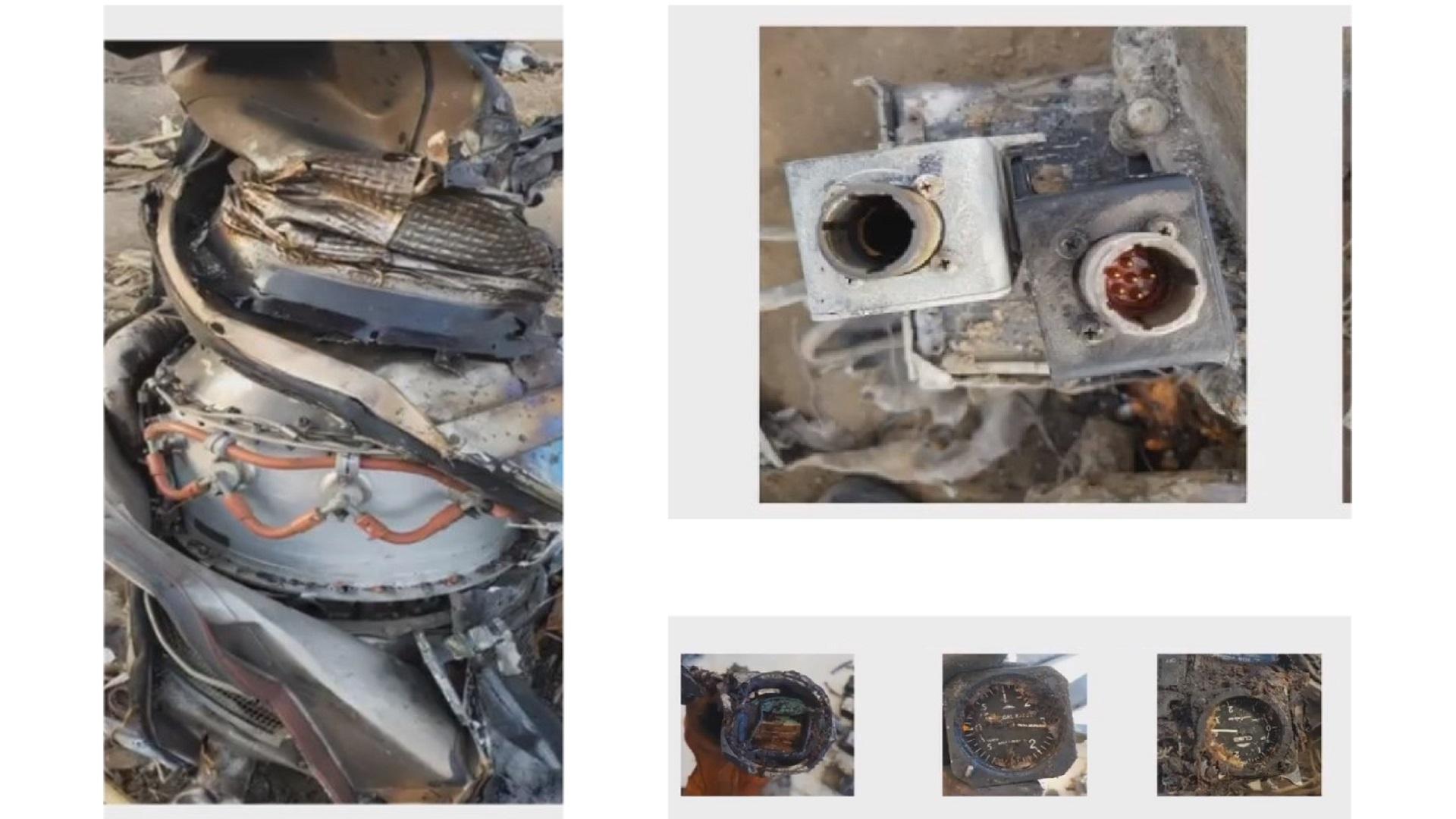 Partes recuperadas del helicóptero. Captura de pantalla