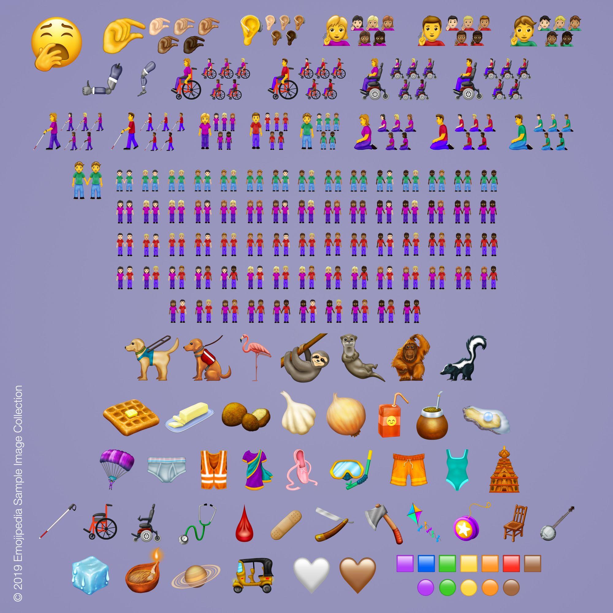 Emojis nuevos y sus variantes. Foto de Emojipedia