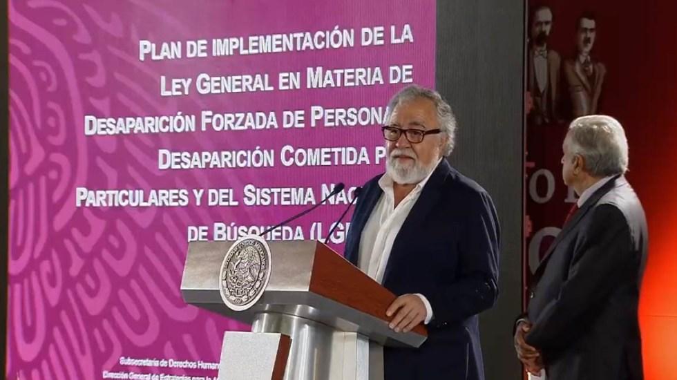 Gobierno Federal anuncia plan en materia de desaparición forzada - Alejandro Encinas. Captura de pantalla