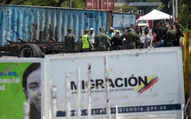 EE.UU. presiona en la ONU por ingreso de ayuda humanitaria a Venezuela - Fuerzas de seguridad venezolanas en el Puente Internacional Simón Bolívar en San Antonio del Táchira, Venezuela, en la frontera con Cúcuta, Colombia. Foto de Raúl Arboleda/AFP