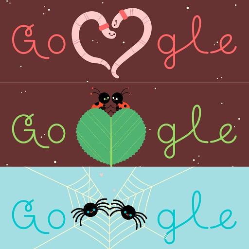 Insectos enamorados en doodle. Foto de Google