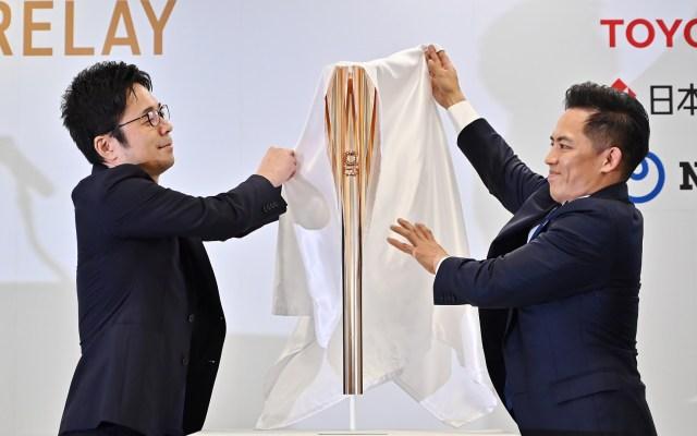 Flor de cerezo inspira antorcha olímpica de Tokio 2020 - Presentación de la antorcha olímpica de Tokio 2020. Foto de AFP / Charly Triballeau