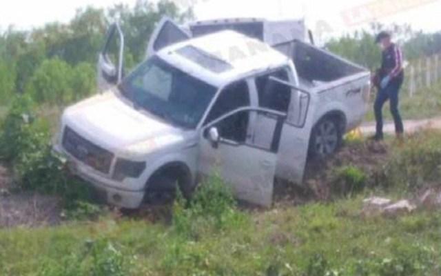 Abaten a cuatro presuntos miembros del Cártel del Golfo en Reynosa - Camioneta en la que viajaban los presuntos delincuentes. Foto de El Mañana