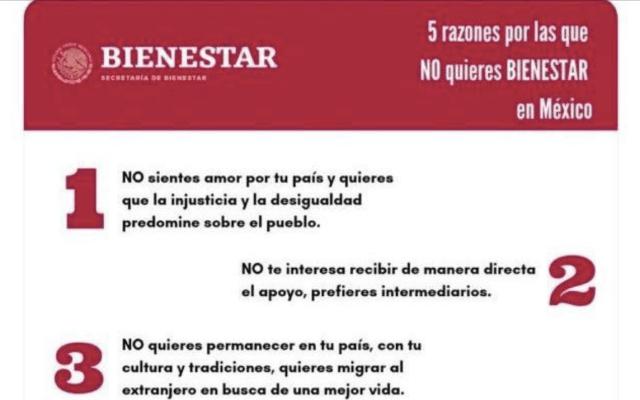Secretaría del Bienestar critica a la oposición en redes sociales - Foto de @bienestarmx