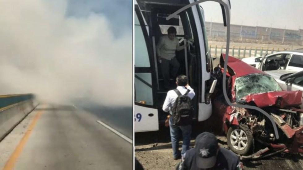 Incendio de pastizales provoca carambola en la autopista México-Puebla - carambola méxico-puebla