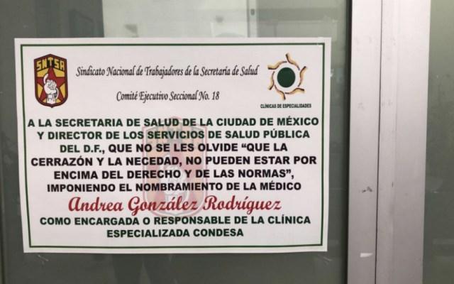 Sindicalizados paran labores en Clínica Especializada Condesa - Foto de @SoyCriSzis