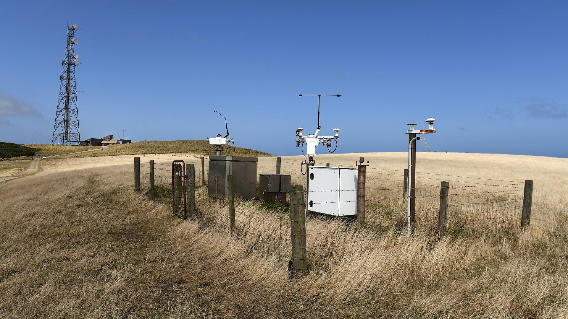 Estación de medición de contaminación. Foto de AFP / William West