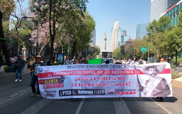 CNTE marcha del Ángel de la Independencia al Zócalo - Foto de @EduardomteleSUR