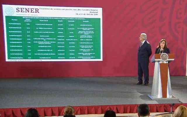 Las gasolineras que venden más caro y más barato, de acuerdo al gobierno federal - Conferencia precios de combustibles. Captura de pantalla