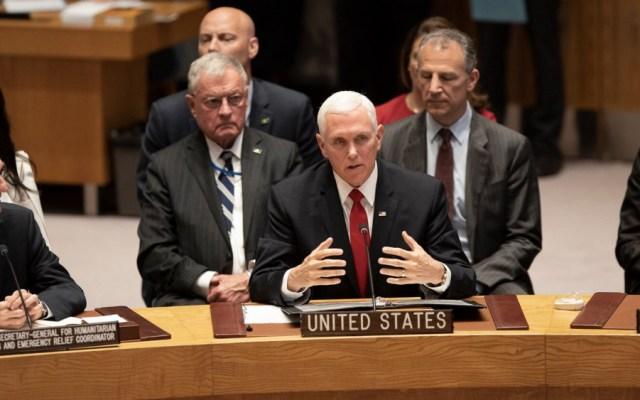 Pence pide a ONU que reconozca a Guaidó como presidente de Venezuela - Foto de @VP