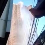 #Video Tras terremoto en Filipinas, piscina de rascacielos revienta y forma cascada