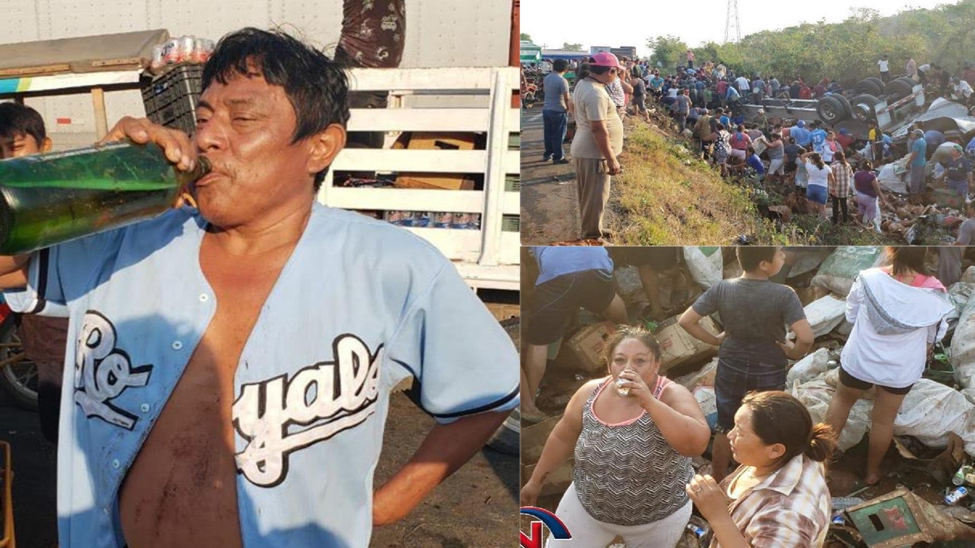 Robo de cervezas en carretera Campeche-Mérida. Foto de Sipse Noticias Campeche