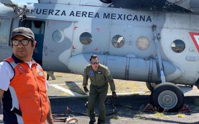 Helicóptero de la Fuerza Aérea apoya en incendio en San Luis Potosí - Foto de @PC_SLP