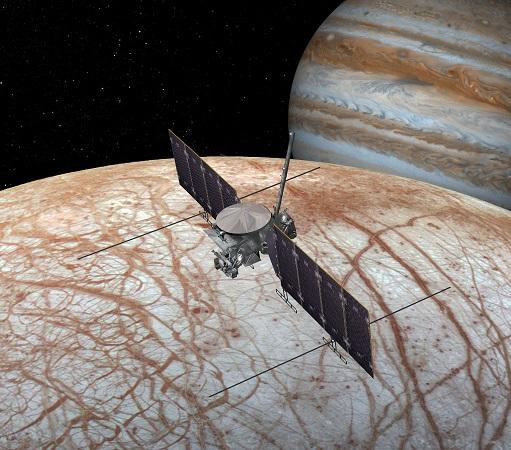 Modelo de sonda sobrevolando Europa. Foto de NASA