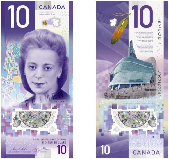 Billete de 10 dólares canadienses. Foto de IBNS