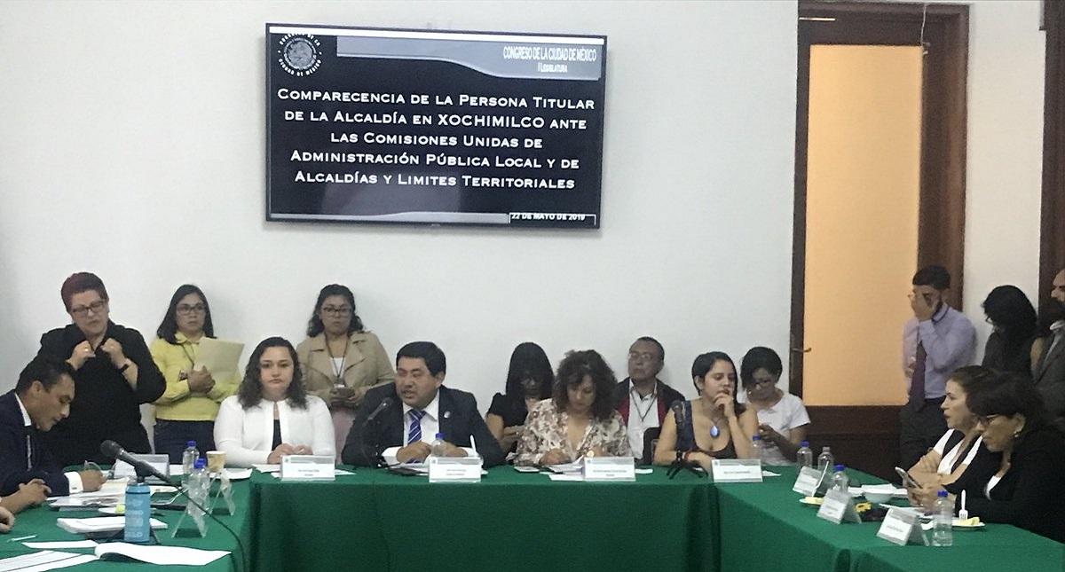Edil de Xochimilco ante comisiones del Congreso de la CDMX. Foto de @JoseCarlosXoch