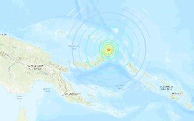 Sismo de 7.5 activa amenaza de tsunami en Papúa Nueva Guinea - Epicentro de sismo en Papúa Nueva Guinea. Captura de pantalla / USGS