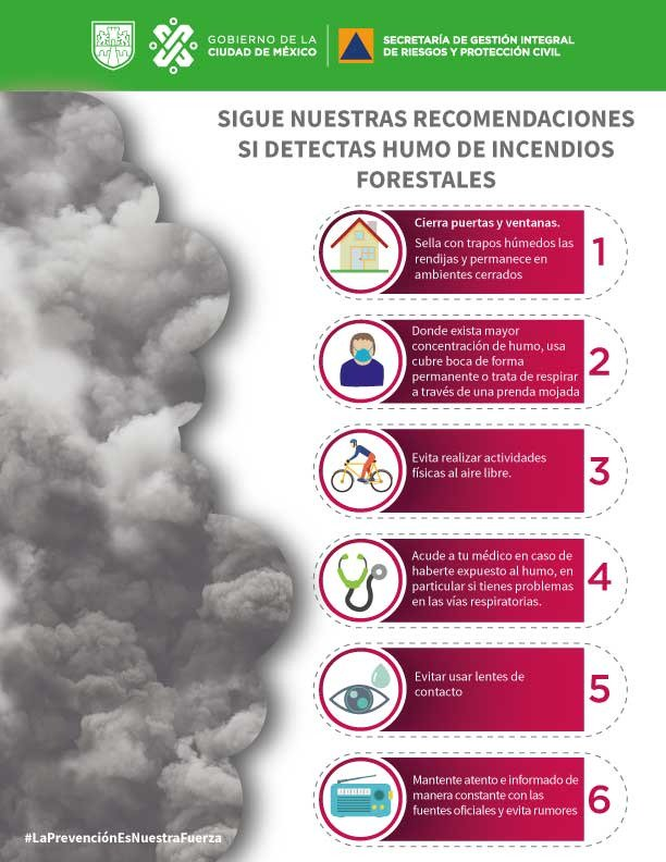 Recomendaciones ante humo por incendios forestales. Foto de @SGIRPC_CDMX