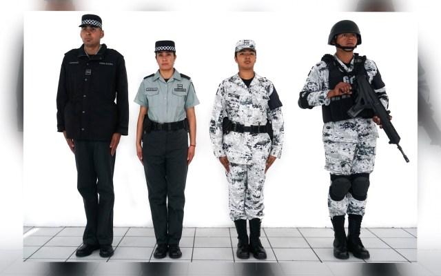 Guardia Nacional ya tiene presupuesto para operar: AMLO - Uniformes de miembros de la Guardia Nacional. Foto de Notimex