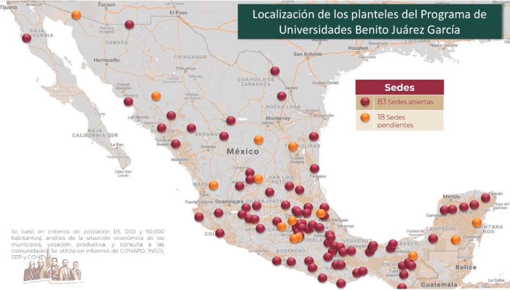Localización de Universidades Benito Juárez. Captura de pantalla