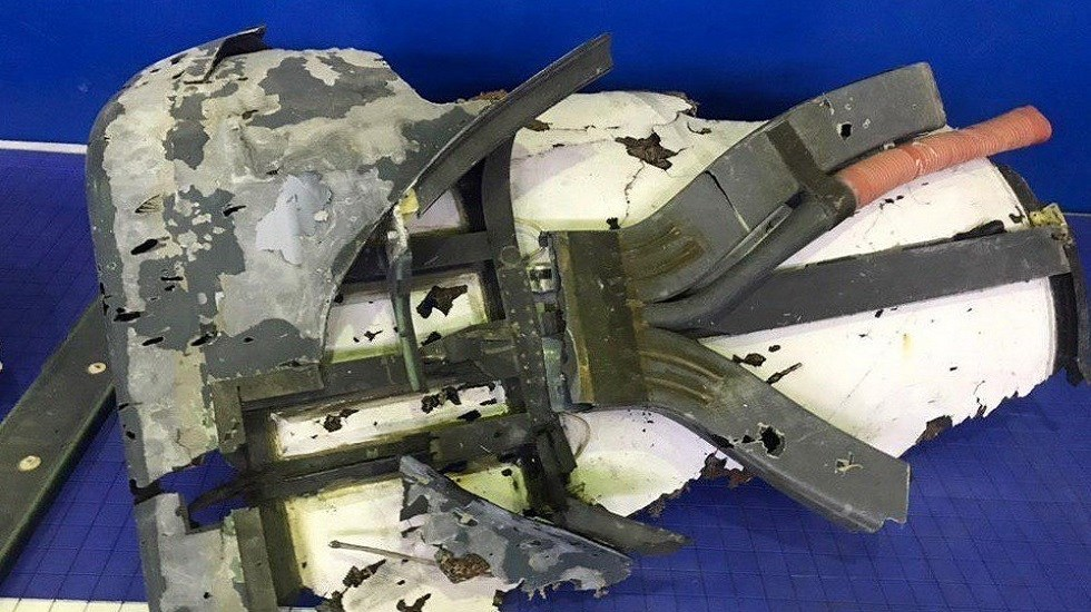 Irán exhibe restos del dron estadounidense que derribó - Restos del fuselaje de un dron estadounidense RQ-4A exhibido por la Guardia Revolucionaria de Irán. Foto Especial / EFE