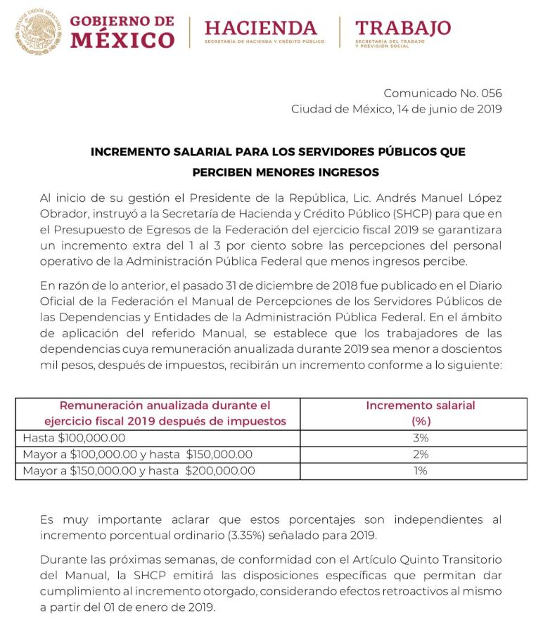 Aumentarán salarios de servidores públicos entre 1 y 3 por ciento