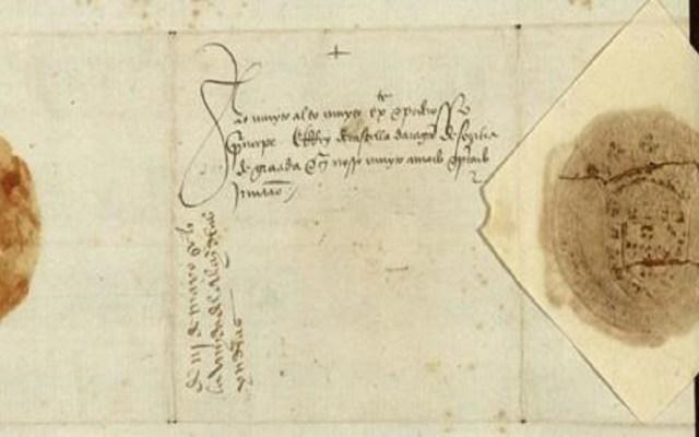 Hallan carta que informa regreso de Colón tras descubrir América - Dorso de la Carta. Foto de Archivo de la Nobleza