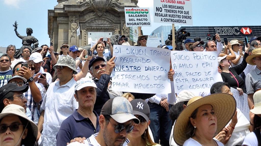 Marchan contra el Presidente López Obrador en la Ciudad de México