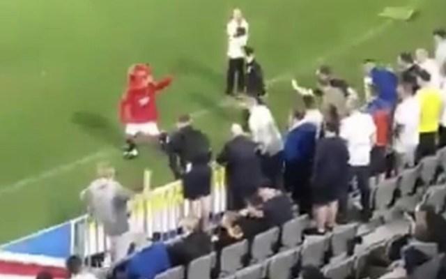 #Video Mascota del Manchester United provoca a aficionados del Leeds - Foto de captura de pantalla