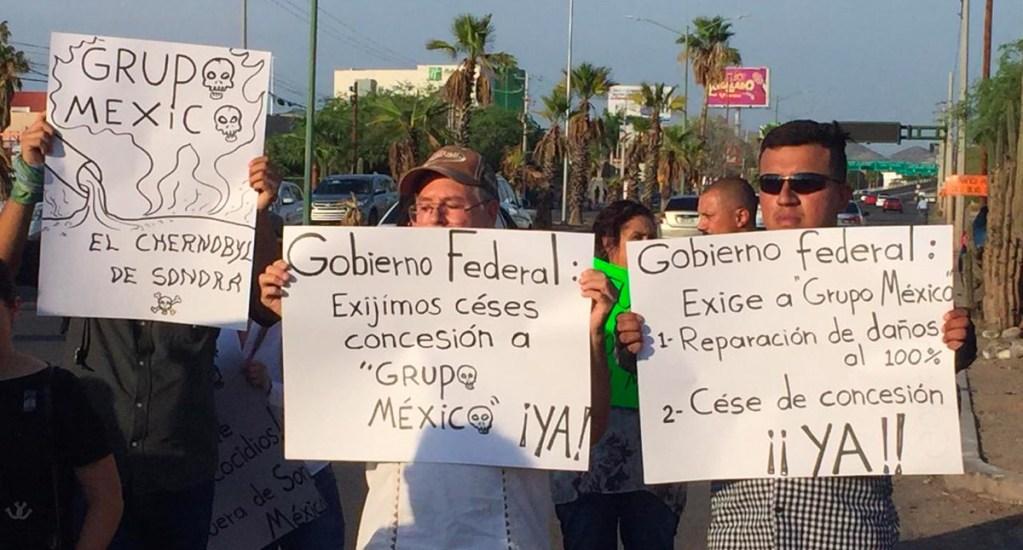 Manifestación en instalaciones de Grupo México por ecocidio en Mar de Cortés. Noticias en tiempo real