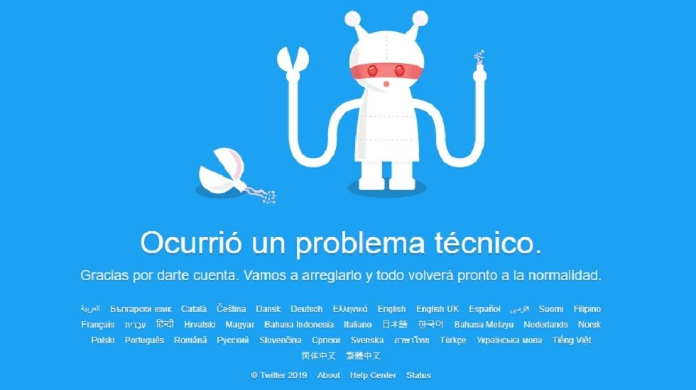 Se cae Twitter en México y varias partes del mundo - Problema técnico en Twitter. Captura de pantalla