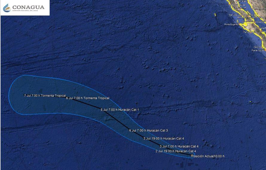 Trayectoria del huracán Bárbara hasta el 7 de julio. Foto de Conagua
