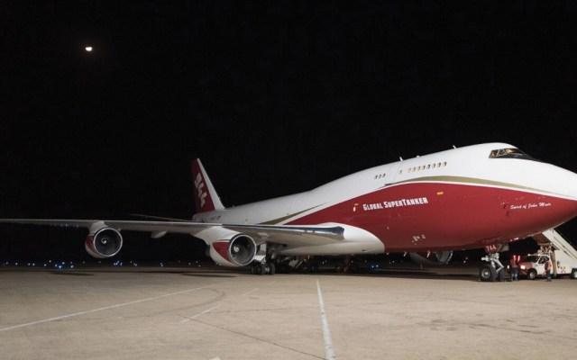 Boeing 747 Supertanker inicia combate de incendios en Bolivia - Foto de Twitter Evo Morales