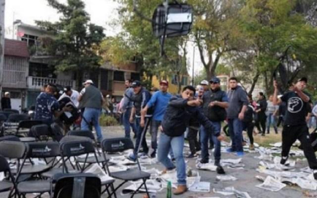 Agresor de periodista participó en ataque a mitin de Sheinbaum - Agresores en mitin de Morena. Foto de @@scarrillotv