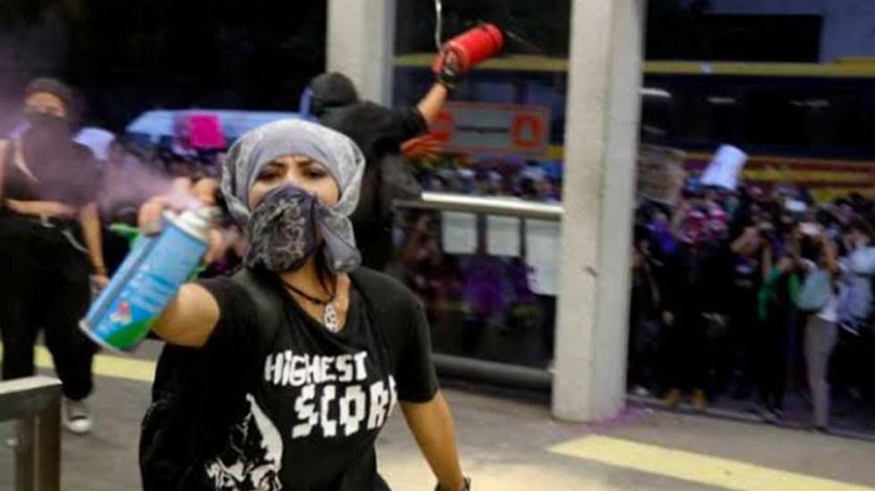 #EllasNoMeRepresentan reprueba actos de vandalismo en marcha feminista - marcha feminista