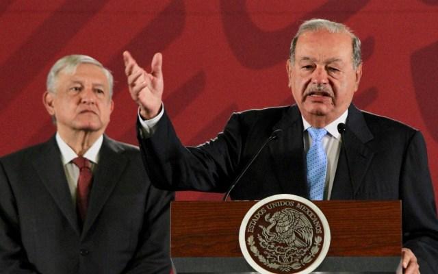 Gobierno Federal pacta mil 600 proyectos de infraestructura con IP - López Obrador y Carlos Slim. Foto de Notimex