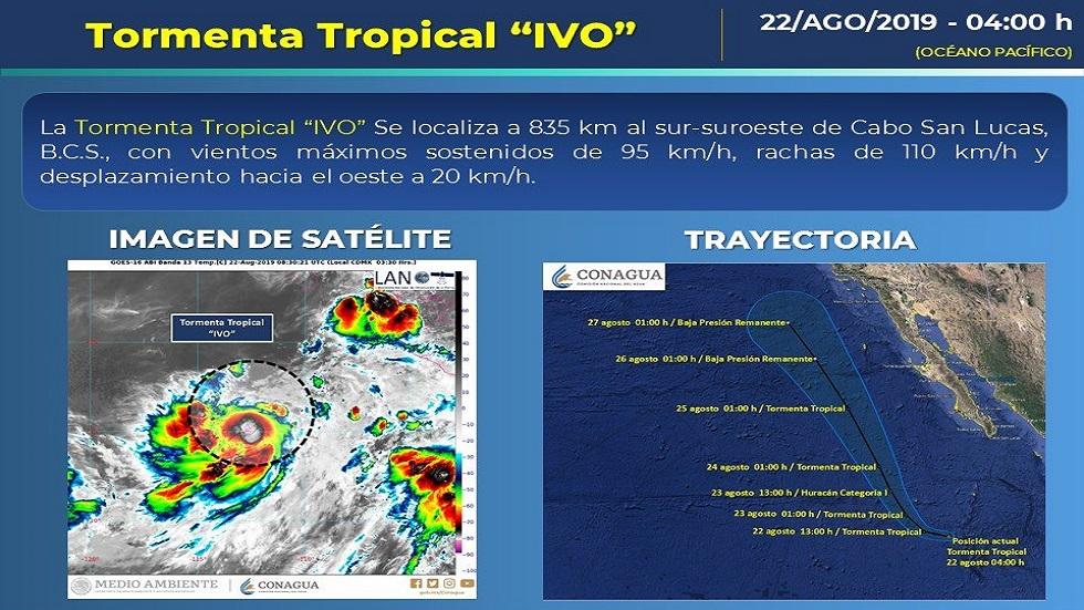 Tormenta tropical 'Ivo'. Foto de Conagua