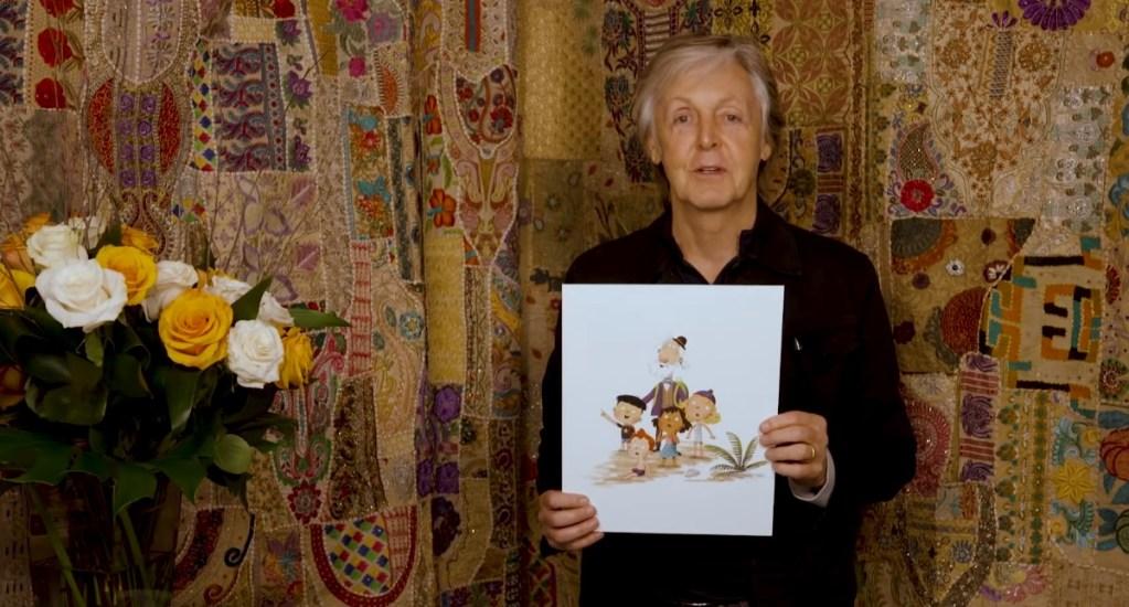 Paul McCartney lanza su libro infantil 'Hey Grandude' - Paul McCartney con ilustración de su libro infantil. Captura de pantalla / Puffin Books