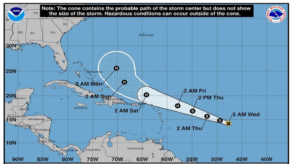 Posible trayectoria de la tormenta tropical Jerry. Foto de NHC