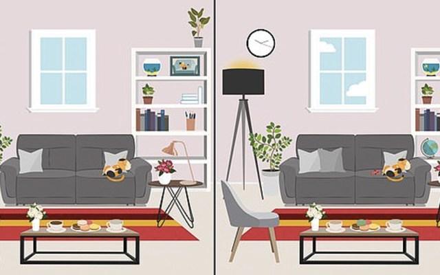 #RetoViral Encuentre las 11 diferencias entre dos salas - Foto de Daily Mail