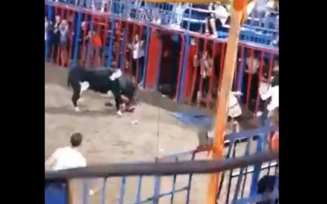 #Video Toro embiste a niño que cayó al ruedo desde grada en España - Toro embiste a niño en Valencia. Captura de pantalla / @PartidoPACMA